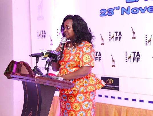 Mama Fisso akihutubia katika uzinduzi wa Tuzo za TAFA New Africa Hotel