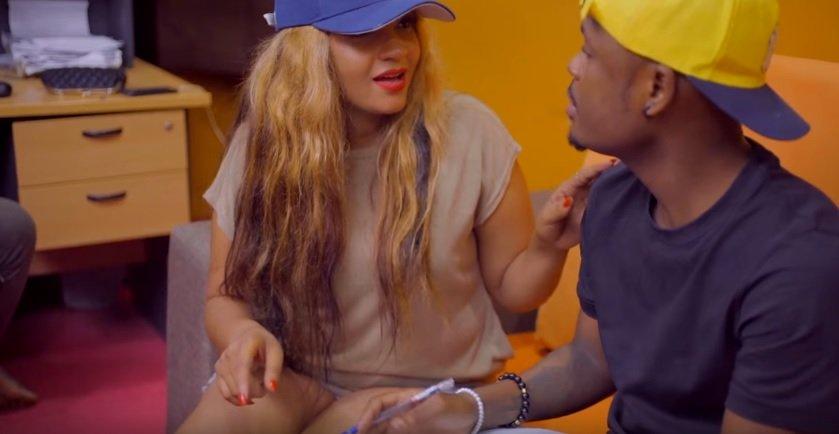 Video queen wa video ya wimbo 'Jike Shupa' anayedaiwa kufanana na Shilole akiwa na Nuh